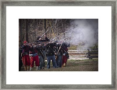 Union Civil War Union Troop Reenactors Shooting With Muskets Framed Print by Randall Nyhof