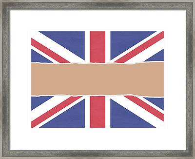 Union Flag Wrapping Paper Torn Through The Centre Framed Print