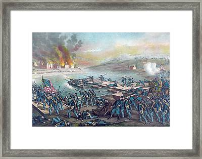 Union Forces Under Burnside Crossing The Rappahannock Framed Print by American School