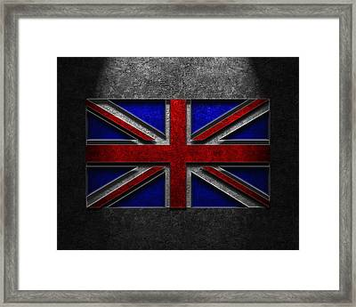 Framed Print featuring the digital art Union Jack Stone Texture by The Learning Curve Photography