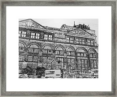 Union Light And Power In Black And White Framed Print
