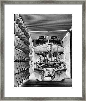 Union Pacific 3 Bw Palm Springs Framed Print by William Dey