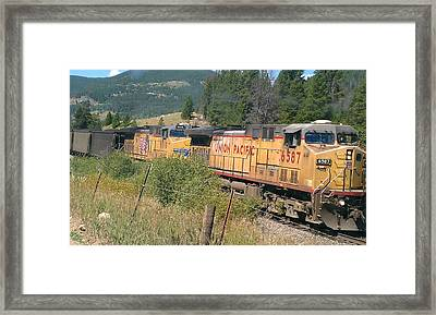 Framed Print featuring the photograph Union Pacific 6587 by Fortunate Findings Shirley Dickerson