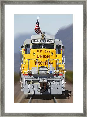 Union Pacific 844 On The Move Framed Print by Mike McGlothlen