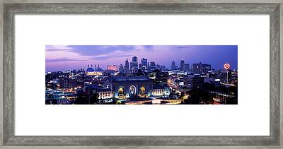 Union Station At Sunset With City Framed Print by Panoramic Images