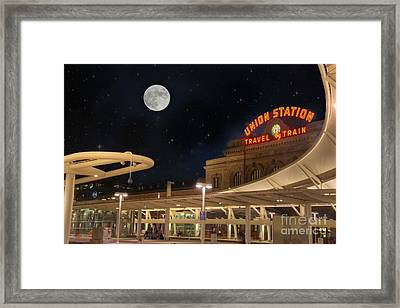 Union Station Denver Under A Full Moon Framed Print