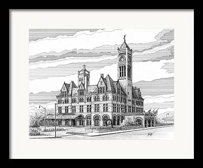 Tennessee Landmark Drawings Framed Prints