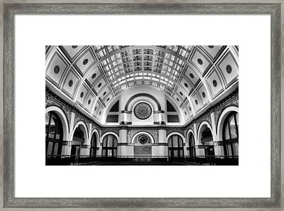 Union Station Lobby Black And White Framed Print