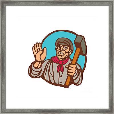 Union Worker With Sledgehammer Linocut Framed Print