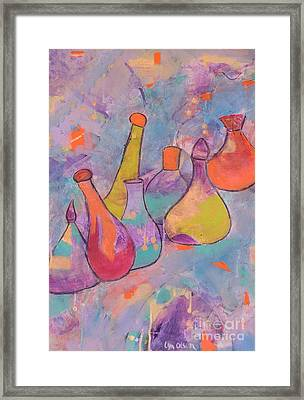 Framed Print featuring the painting Unique Bottles by Lyn Olsen