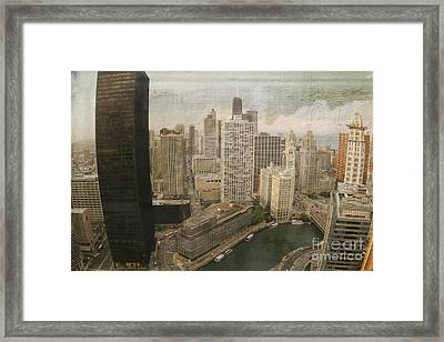 Vintage Unique Downtown Chicago View Digital Art Framed Print by Linda Matlow