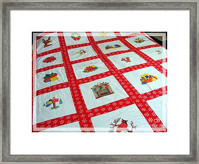 Unique Quilt With Christmas Season Images Framed Print