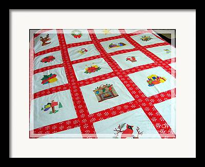 Unique Quilt With Christmas Season Images Framed Prints