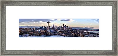 Unique Seattle Evening Skyline Perspective Framed Print by Mike Reid