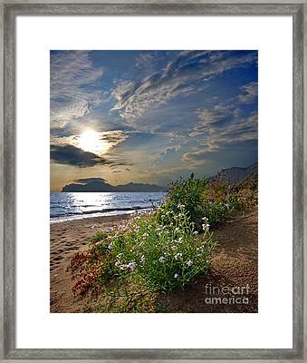 Unique Sunset Over Bay Framed Print