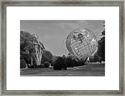 Unisphere In Corona Park Framed Print by Mike Martin