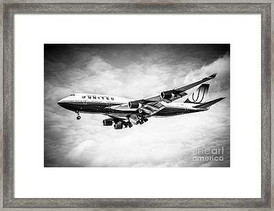 United Airlines Boeing 747 Airplane Black And White Framed Print by Paul Velgos