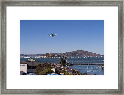 United Airlines Jet Over San Francisco Alcatraz Island Dsc1765 Framed Print by Wingsdomain Art and Photography