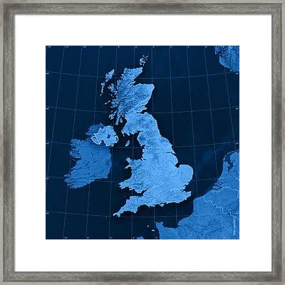 United Kingdom Topographic Map Framed Print by Frank Ramspott