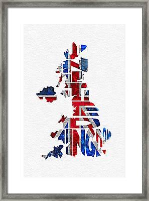 United Kingdom Typographic Kingdom Framed Print by Ayse Deniz