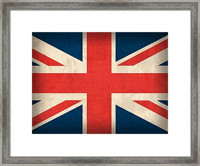 United Kingdom Union Jack England Britain Flag Vintage Distressed Finish Framed Print by Design Turnpike