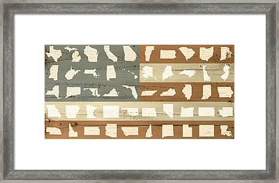 United Shapes Of America Painted Flag Wood Art Framed Print