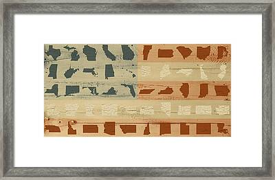 United Shapes Of America Painted Flag Wood Art Version Two Framed Print