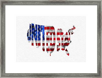 United States Typographic Map Flag Framed Print by Ayse Deniz