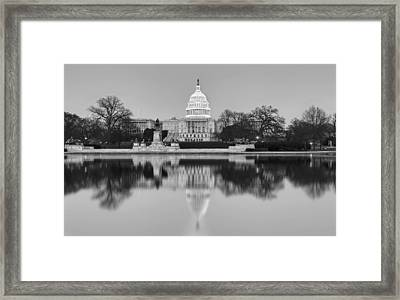 United States Capitol Building Bw Framed Print by Susan Candelario