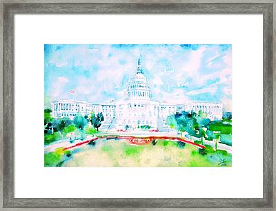 United States Capitol - Watercolor Portrait Framed Print