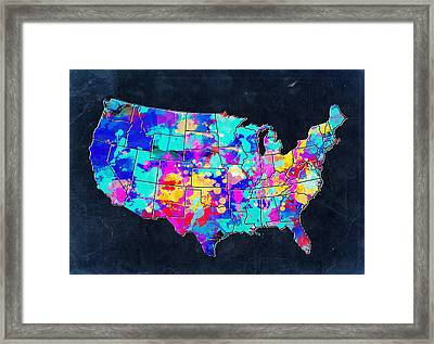 United States Colorful Map 2 Framed Print