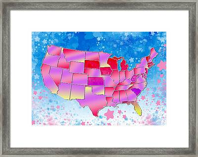 United States Colorful Map 3 Framed Print