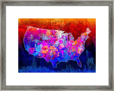 United States Colorful Map Collage Framed Print