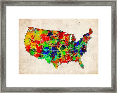 United States Colorful Map  Framed Print