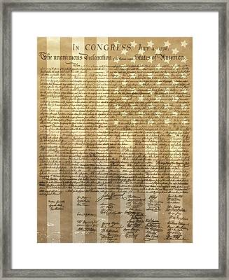 United States Declaration Of Independence Framed Print by Dan Sproul
