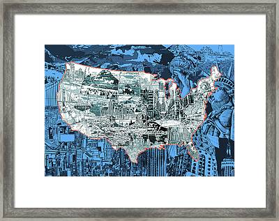 United States Drawing Collage Map 2 Framed Print