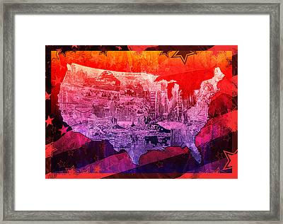 United States Drawing Collage Map 3 Framed Print