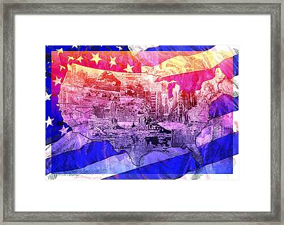 United States Drawing Collage Map 4 Framed Print