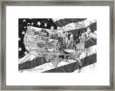 United States Drawing Collage Map 5 Framed Print