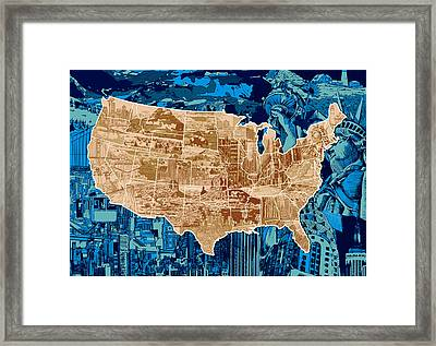 United States Drawing Collage Map  Framed Print