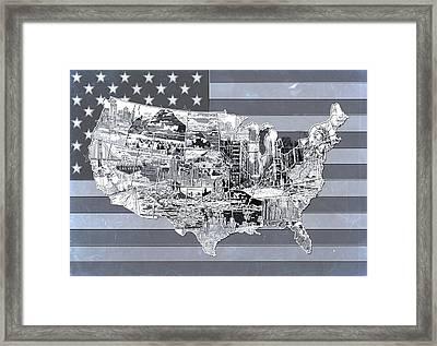 United States Flag Map 2 Framed Print