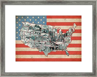 United States Flag Map Framed Print