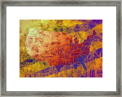United States Flag Map Vintage 2 Framed Print