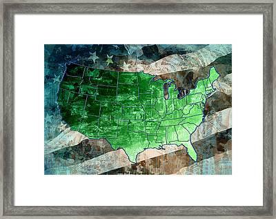 United States Flag Map Vintage 3 Framed Print by Bekim Art