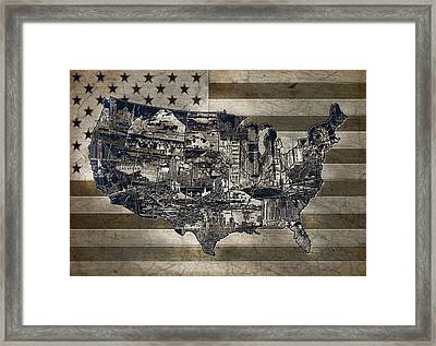 United States Flag Map Vintage 4 Framed Print