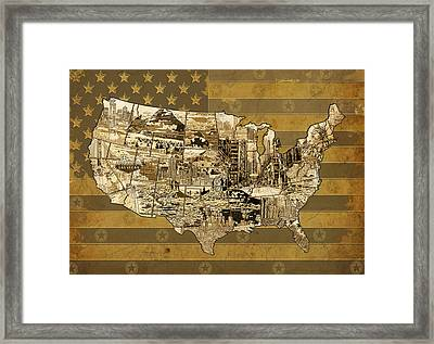 United States Flag Map Vintage Framed Print
