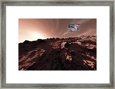 United States Flag On Mars Framed Print