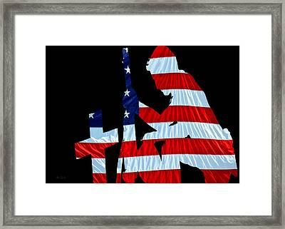 A Time To Remember United States Flag With Kneeling Soldier Silhouette Framed Print