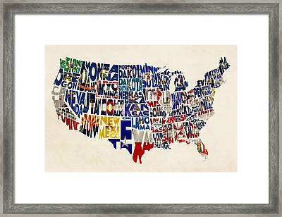 United States Flags Map Framed Print by Ayse Deniz