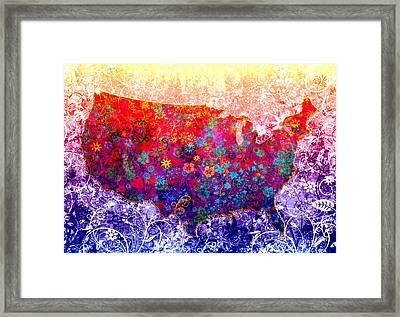 United States Floral Map 2 Framed Print
